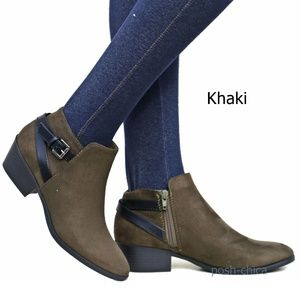 New Khaki Western Strap Ankle Boots Booties